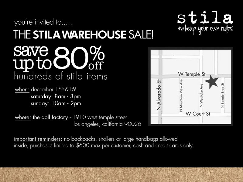 Stila Warehouse Sale - Dec 15 and 16